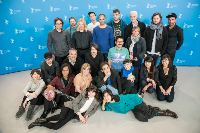 The Berlinale Shorts Filmmakers 2015 with curator Maike Mia Höhne (© Heinrich Völkel)